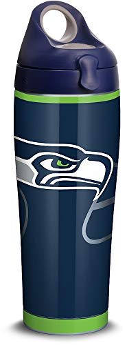 (Tervis 1305183 NFL Seattle Seahawks Rush Stainless Steel Insulated Tumbler with Navy with Gray Lid, 24oz Water Bottle, Silver)