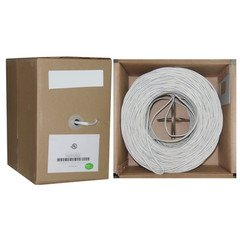 Speaker Cable, White, Pure Copper, CM / Inwall rated, 14/2 (14 AWG 2 Conductor), 105 Strand / 0.16mm, Pullbox, 500 foot