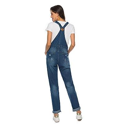 ezShe Women's Ripped Boyfriend Denim Bib Overalls with Pocket: Clothing