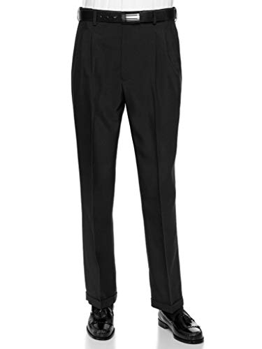 RGM Men's Pleated Dress Pants Work to Weekend - Comfortable and Lightweight - Expandable Waist BlackExpandable 40 X-Short