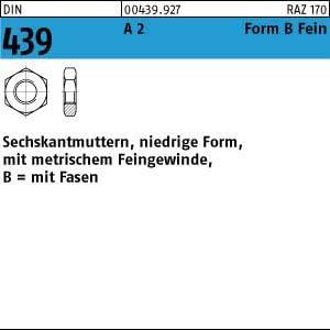 25 Edelstahl V2A Feingewinde Sechskantmuttern niedrig DIN 439 A2 M14x1,5