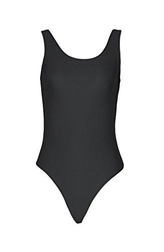 Girl Acrobat Costume (WOLF UNITARD Thong Tank Leotard One Piece Bodysuit X-Large Black)