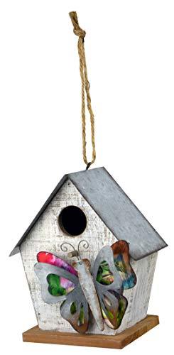 Red Carpet Studios 40849 3D Whitewash Bird House, Butterfly