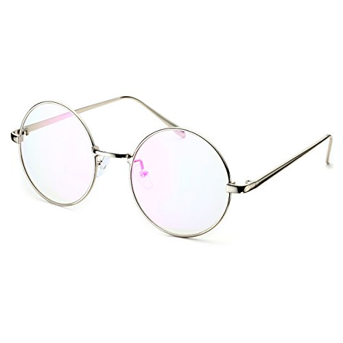 PenSee Circle Oversized Metal Eyeglasses Frame Inspired Horned Rim Clear Lens - Glasses Oval Round