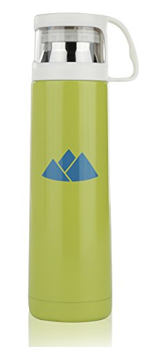 Travel Mug Stainless Steel Thermos Vacuum Mug 16oz   Contemporary Insulated Commuter Tumbler for Office, Home, Camping, School, Hiking   16 Ounce Insulated Thermal Cup for Kids and Adults (Green)
