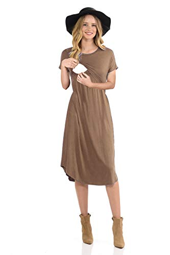 Shirred Dress Knit (CzzzyL Maternity Dress for Women, Juniors Lightweight Flows Hem Trendy Pull up Basic Nursing Dresses for Feeding Baby Breathe Soft Shirred Classy Ruffle Loose Swing(Coffee,Medium))
