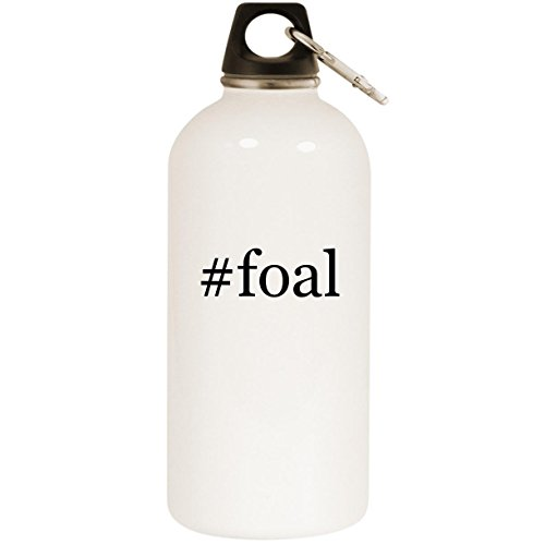 Molandra Products #foal - White Hashtag 20oz Stainless Steel Water Bottle with Carabiner