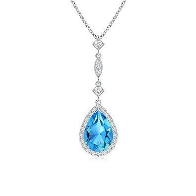 Angara Pear Shaped Swiss Blue Topaz Teardrop Necklace in Platinum EVpuFj