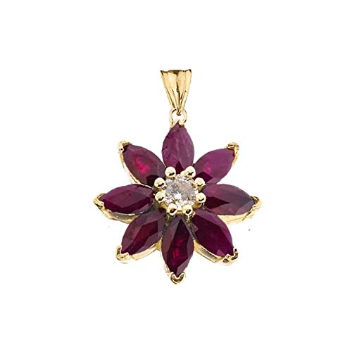 Exotic 10k Yellow Gold Daisy Diamond and Ruby Flower - Necklace Diamond Daisy Gold
