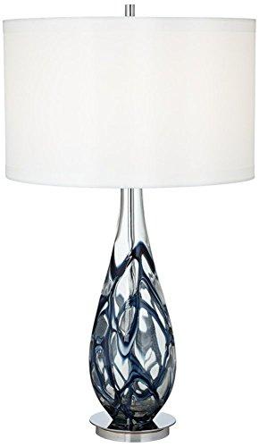 Indigo Swirl Blue Art Glass Table Lamp