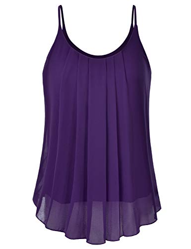 EIMIN Women's Pleated Chiffon Layered Sleeveless Cami Tank Tunic Top Plum ()