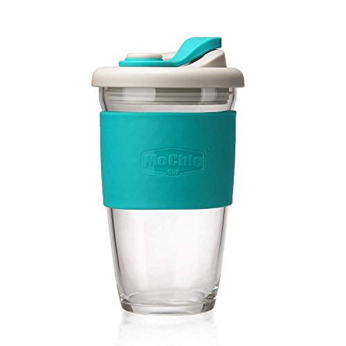 MoChic Reusable Coffee Cup Glass Travel Mug with Lid and Non-slip Sleeve Dishwasher and Microwave Safe Portable Durable Drinking Tumbler Eco-Friendly and BPA-Free (Mint Green, 16 OZ) (Best Microwave Safe Coffee Travel Mug)