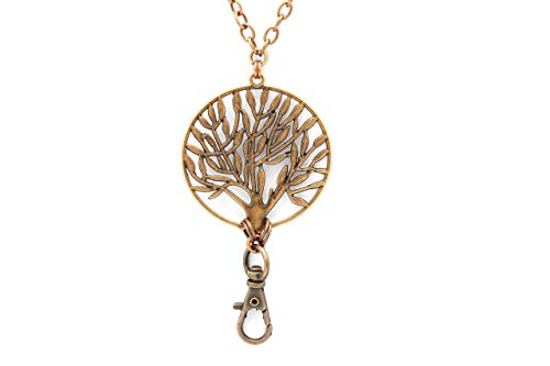 (Brenda Elaine Jewelry | Women's Fashion Lanyard Necklace for ID Badge Holders | Never Tarnish | 32 Inch Antique Copper Chain with Antique Copper Tree of Life Pendant & No)