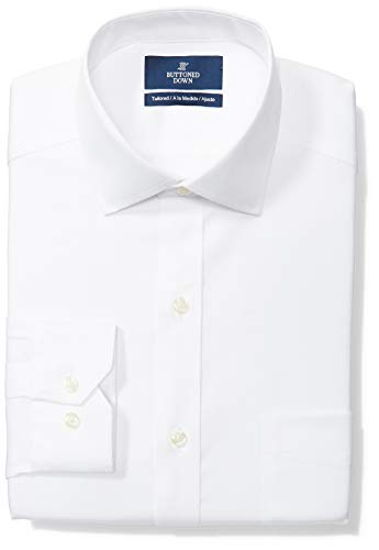 BUTTONED DOWN Men's Tailored Fit Spread-Collar Solid Non-Iron Dress Shirt (Pocket), White, 15.5