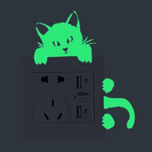 Gbell Fluorescent Switch Wall Stickers for Bedroom Girls Boys,Kitten Fairy Panda Pattern Night Luminous Wall Stickers- Kids Home Kitchen Bathroom,Decor,Green (A)