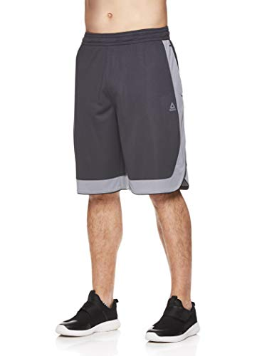 Reebok Men's Mesh Basketball Gym & Running Shorts w/Elastic Drawstring Waistband & Pockets - Dunk Shot Ebony, Small