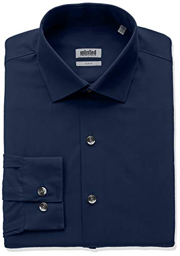 Kenneth Cole Unlisted Men's Dress Shirt Slim Fit Solid ,  Medium Blue,  15