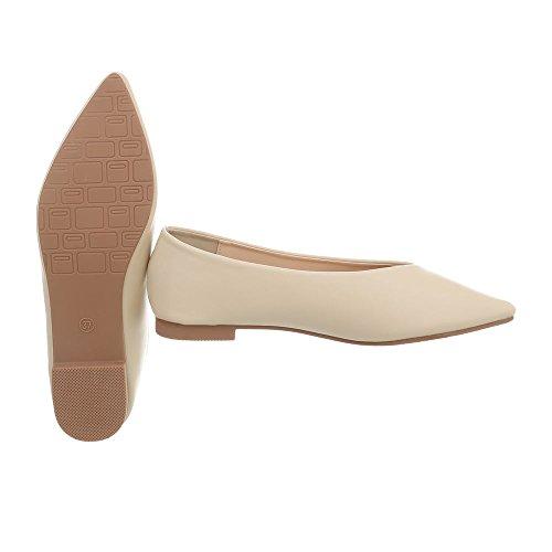 classiche da Scarpe Ital donna tacco Beige a Ballerine Xq55068 Ballerine blocco Design wx0T7x4