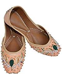 17e0abd7c6d3 Indian Ethnic Embroidered Jutti Mojari Ballet Flats Traditional Orange Pump  Shoes for Women