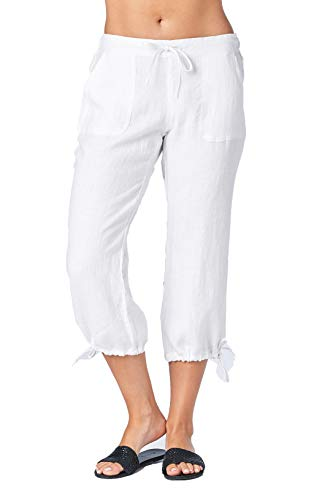 (Mariyaab Women's Wide Leg Casual 100% Linen Capri Pants with Drawstring and Leg tie (1411, White,)