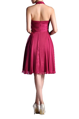 Chiffon line Halter Length A Bridesmaid Occasion Knee Special Daffodil Natrual Dress 1xSdwEqp1
