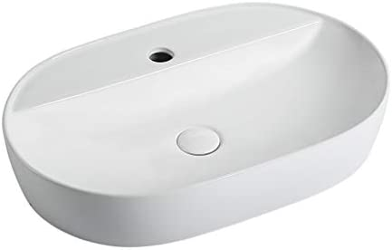 DS- バスルームの洗面台、楕円形のセラミックカウンター流域バニティホーム(タップなし)単一流域シンク、61X40X11.5cm 洗面ボール && (Color : White)