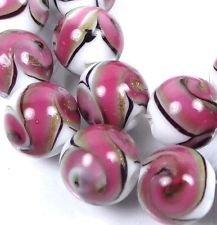12mm Lampwork Handmade Glass Pink Swirls with Gold Sand Round Beads (8) ()