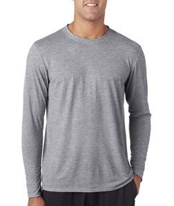 Antimicrobial Long Sleeve Jersey - Gildan Performance Adult Long Sleeve Tee (Sport Grey) (L)