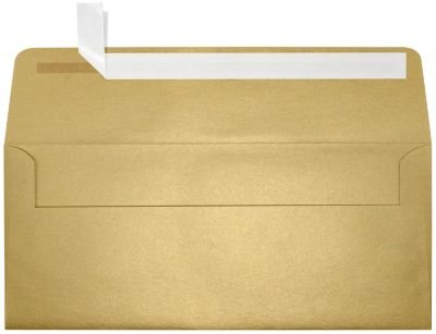 #10 Square Flap Envelopes w/Peel & Press (4 1/8 x 9 1/2) - Blonde Light Gold Metallic (50 Qty.) | Business | For Checks, Invoices, Letters & Mailings | Printable - Mailing Envelope Square