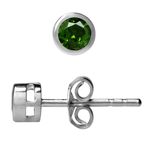 3MM Extra Petite Green Chrome Diopside 925 Sterling Silver Bezel Set Stud Earrings