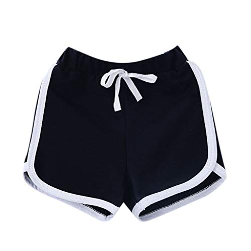 iZHH Summer Shorts for Children Boy Girl Candy Colors Casual Shorts Elastic Waist Pants Clothes Black ()