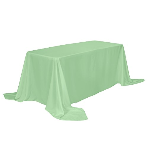 VEEYOO Rectangular Tablecloth 100% Polyester Oblong Table Cloth for Bridal Shower - Solid Soft Oval Table Cover for Wedding Party Restaurant Party Buffet Table (Mint Green, 90x132)]()