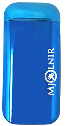 Lighter Slim Led (Electric Lighter Rechargeable USB Plasma Flameless Double Arc Slim Avenger Blue - NEW No Butane Windproof LED Indicator High Grade Zinc Alloy Chemical Free for Cigars, Cigarettes or Candles by Mjolnir)