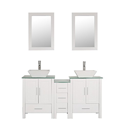 Goodyo White 60 inches Bathroom Vanity Cabint Combo with 2 Main Cabinets and 1 Side Cabinet, Tempered Glass - Sink Drawers Three Vanity Double