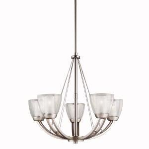 Kichler Lighting 1991NI Lucia 5-Light Chandelier, Brushed Nickel and Clear Outside Glass with Satin-Etched Inside Glass
