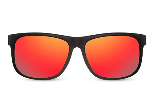 07510a66f0a239 Lunettes de soleil Cheapass Sportives Wayfarer Noires mates Rouges Verres  Revo Miroités UV400