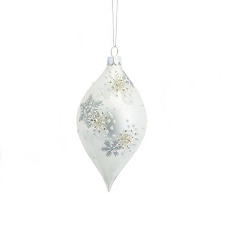 "6"" Silver White 3D Snowflake Glass Finial Christmas Ornament"