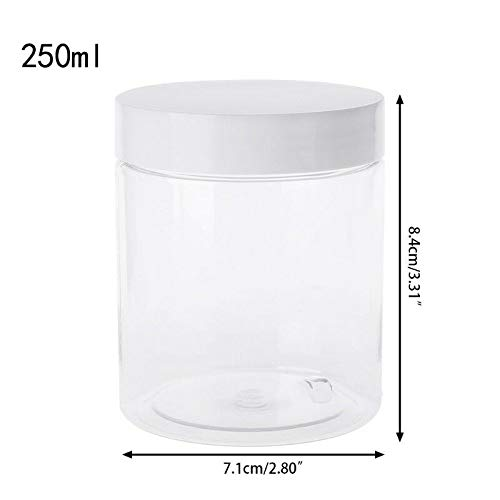 MOPOLIS Container for Slime Clay Makeup Jar Cosmetic Pot Cream Bottle Nail Box (Model - 250mL ClearWhte) ()