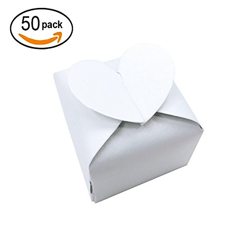 White Cube Candy Boxes Set Heart Thank You Treat Boxes Bulk Wedding Favors Baby Shower Party Supplies 2x2x2 Inch, (Candy Heart Treat)