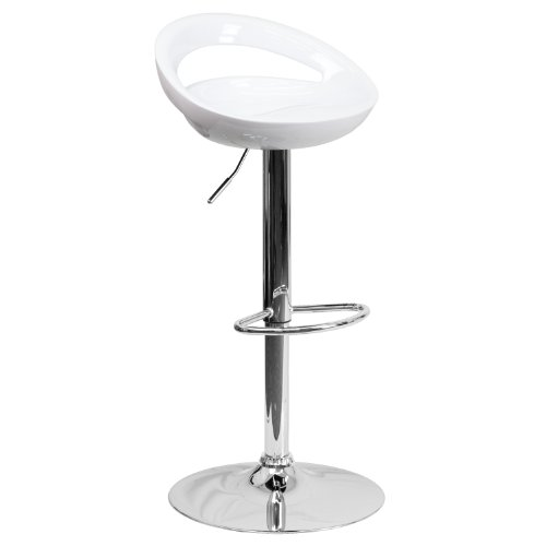 - Flash Furniture Contemporary White Plastic Adjustable Height Barstool with Chrome Base