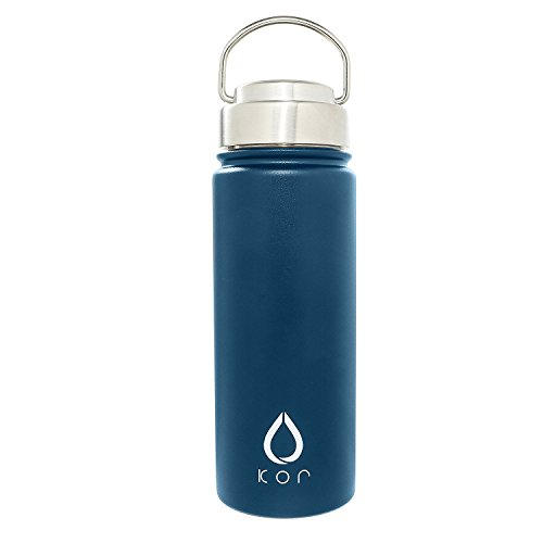 KOR ROK Double-Wall, Stainless Steel Water Bottle - Vacuum Insulated, Plastic-Free, Temperature Controlled, Keeps Cold 24hrs Warm 12hrs. Leak & Sweat Proof (Sapphire)