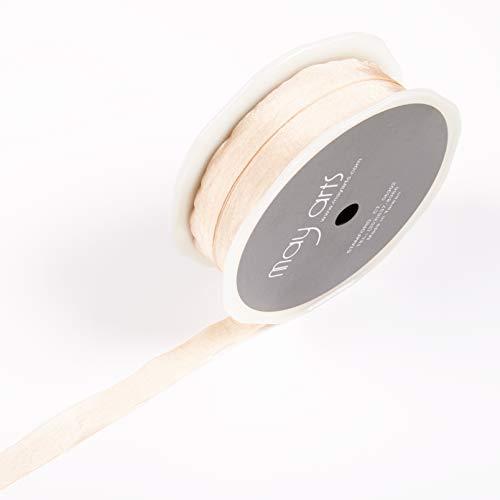 Faux Silk Ribbon - May Arts 1/2'' Faux Silk Wrinkled Ribbon (Roll 50 Yard) Champagne