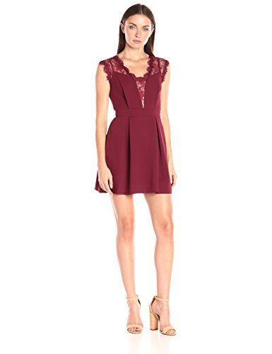 BCBGeneration Women's Lace Inset Dress, Wine Red, 4