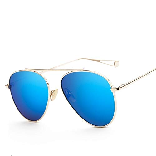 Sunglass Fashion General Purpose Sunscreen UV400 Sunglasses Polarized Light Metal PC Outdoor Large Lens Big Frame UV Protection (Color : Gold+ice Blue)