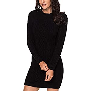 Dearlove Women's Long Sleeve Crew Neck Slim Knit Sweater Bodycon Midi Dress