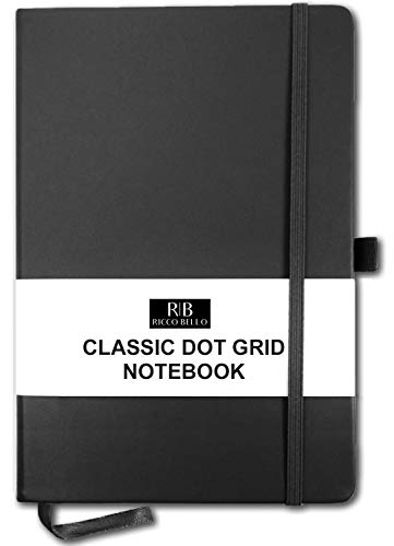 RICCO BELLO A5 Hardcover Dotted Notebook, Bullet Style Journal, Pen Loop, 5.7 x 8.4 in. (Black) ()