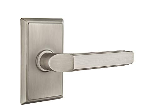 Emtek Privacy Set, Rectangular Rosette, Milano Lever, Pewter, RH