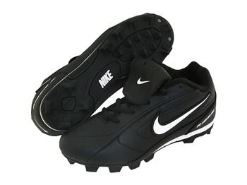 Nike Ribbie Jr (Bg) 309303-011 Black White Lace-up Baseball Cleats (Kids 4.5, Black) by NIKE