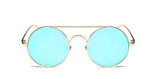 Pour Lunettes Soleil Style du en Hommes Cercle Polarisées Rond de Retro Inspirées et Glacier Bleu Femmes Métallique Steampunk rr8wq7x5X