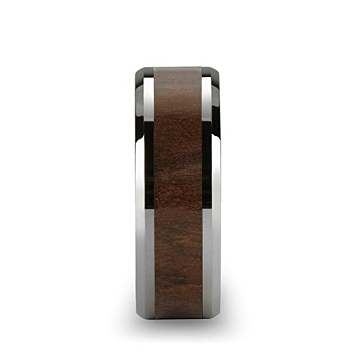 Thorsten Halifax Beveled with Black Walnut Wood Inlay Tungsten Carbide Ring 7mm Wide Wedding Band from Roy Rose Jewelry